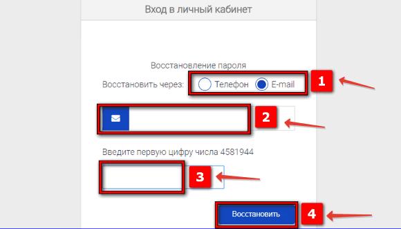 Получения нового пароля